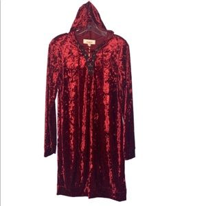 No Comment Dresses - NWT No Comment Crushed Velvet Hoodie Dress